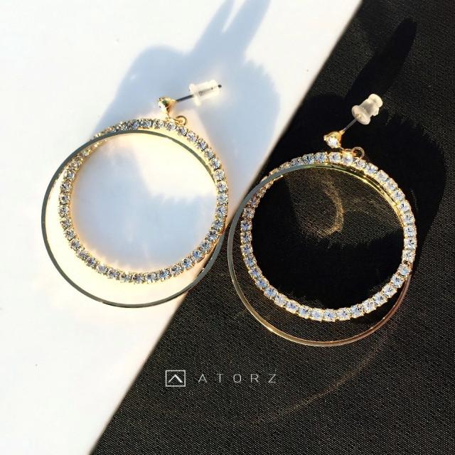 奧地利STELLUX水鑽系列耳環 ‧ 光刻雙環