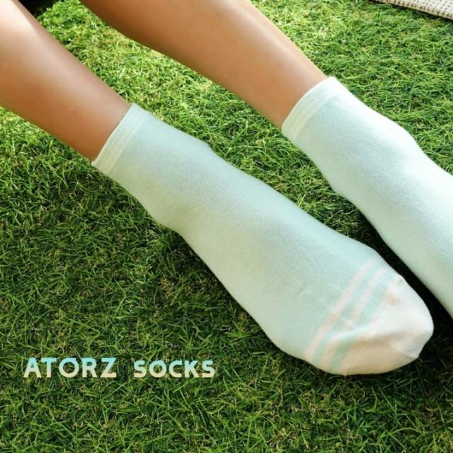 女精梳萊卡短襪‧水綠紋