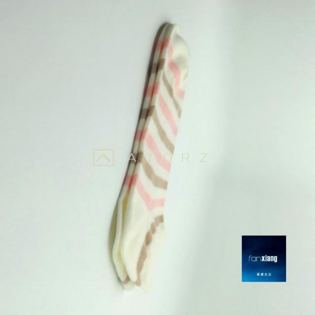 女精梳萊卡裸襪‧粉白條紋