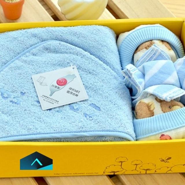 童包巾彌月禮盒 ‧ 藍 / 粉
