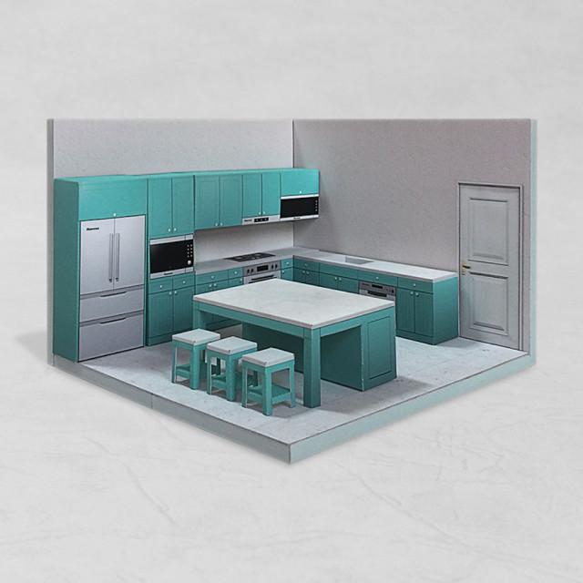 場景袖珍屋 - Kitchen #002 - DIY 紙模型