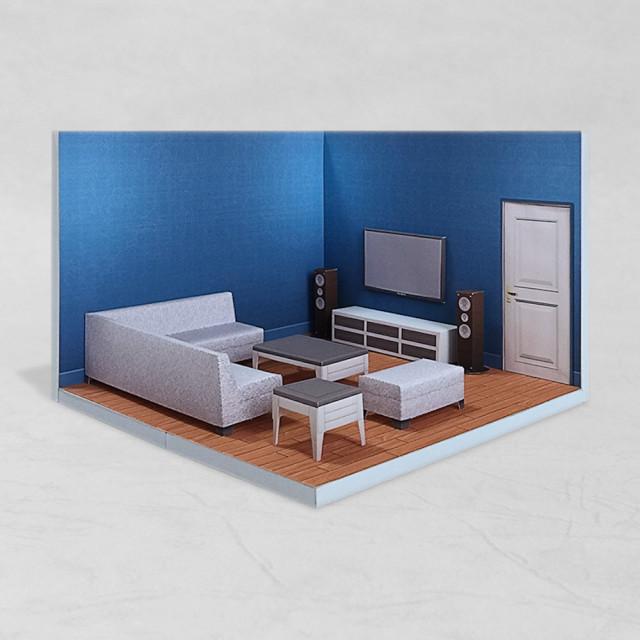 場景袖珍屋 - LivingRoom #002 - DIY 紙模型