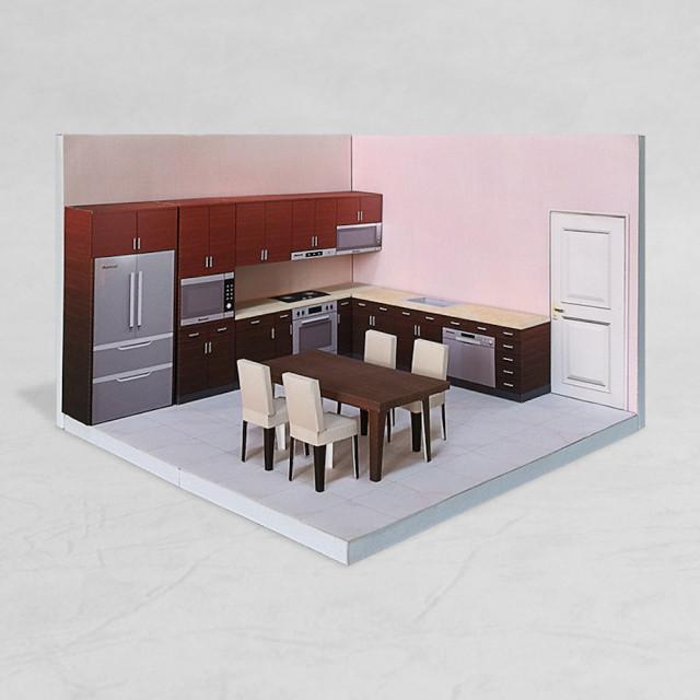 場景袖珍屋 - Kitchen #001 - DIY 紙模型
