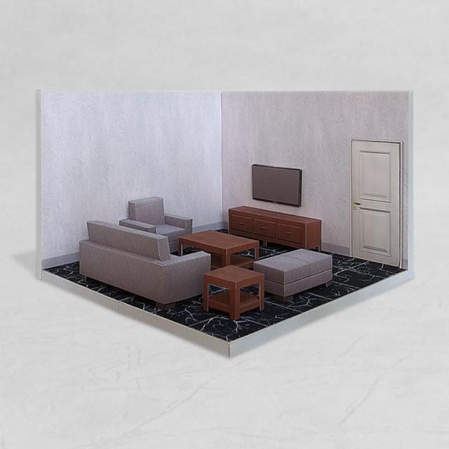 場景袖珍屋 - LivingRoom #001 - DIY 紙模型
