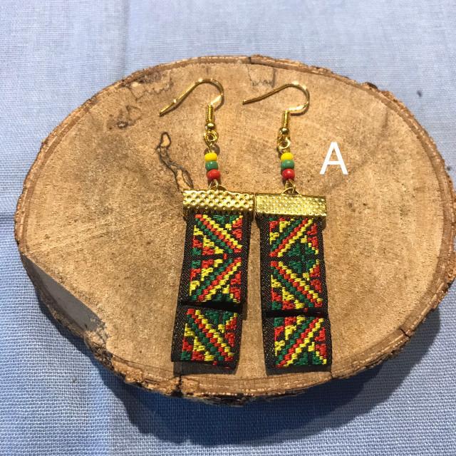INA私室-雙層織帶耳環
