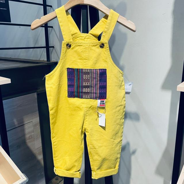 安室-小童吊帶褲(黃)