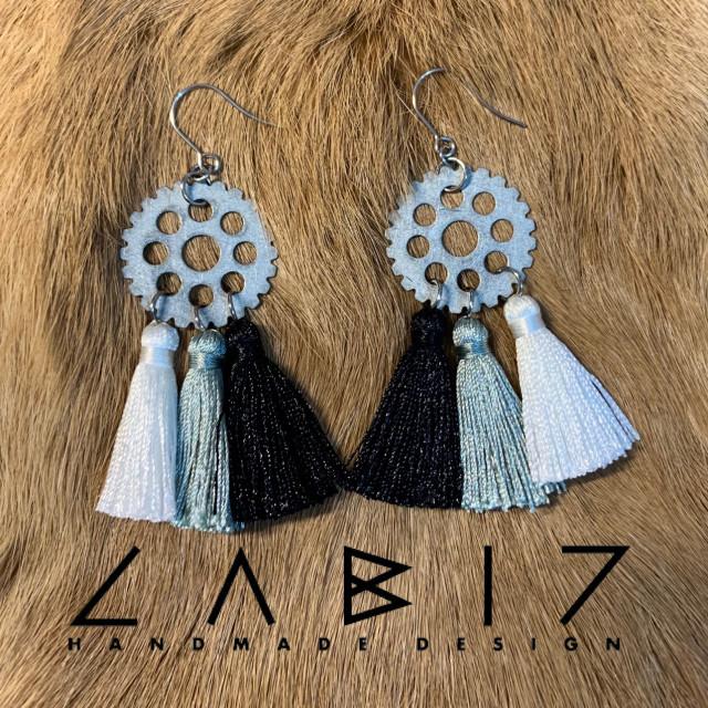 Labiz Handmade Design 齒輪捕夢網流蘇耳飾