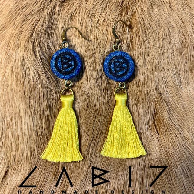 Labiz Handmade Design 草粉木製logo流蘇耳飾