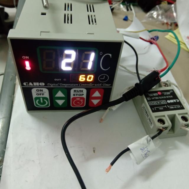 烘培用溫度時間控制器+25A交流轉交流固態繼電器(含1支感溫棒)