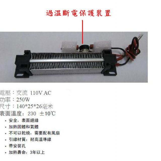 PTC帶電波紋加熱器含過溫保護器250W