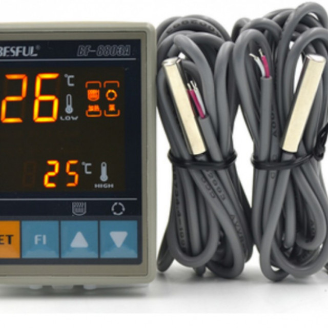 AC80V~240V太陽能溫差控制器雙探頭溫差迴圈泵控制開關雙顯示溫控器