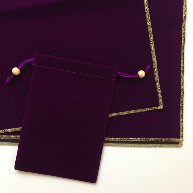 塔羅桌布+牌袋套裝|加厚純色植絨|桌布75x75cm|袋標準牌尺寸