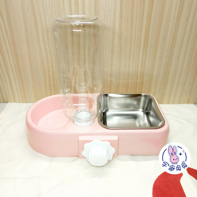 ☼宇宙兔兔☼兩用式兔子天竺鼠龍貓貓狗小動物固定式水碗飼料碗籠子網片適用水壺食物盆